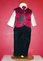 BOYS WINE WAISTCOAT BLACK TROUSERS 4 PIECE SUIT WEDDING PAGEBOY PARTY AGE 5