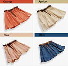 Women 4 Colors Fashion Pleated Floral Chiffon Lady Cute Mini Skirt with Belt