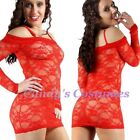 RED Hot LACE Lingerie DRESS Off-the-shoulder LONG Sleeve MINI Stripper SIZE 8-16