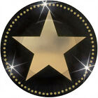 8 x Star Attraction Hollywood Movie Party Paper Plates Tableware Black & Gold