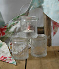 Set Of 3 Pretty Vintage Style Hanging Glass Tea Light Holder Jars