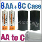 8x 2500mAh AA NiMH Battery @ME + 8x AA to C LR14 Holder Case Adaptor Converter
