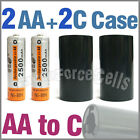 2x 2500mAh AA NiMH Battery @ME + 2x AA to C LR14 Holder Case Adaptor Converter
