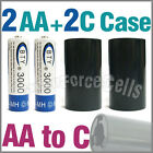 2x 3000mAh AA NiMH Battery BTY + 2x AA to C LR14 Holder Case Adaptor Converter