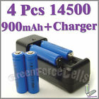 4 x 900mAh 14500 rechargeable battery + charger AA AAA