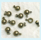 8 Pieces of Antiqued Brass Ball and Socket Clasps
