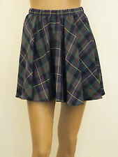NEW WOMENS BLACK,GREEN,PURPLE,RED AND YELLOW TARTAN CHECK SKATER SKIRT SIZE 8-14