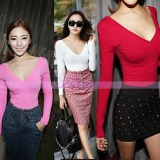 Women's Mini Sexy Corset Low V-neck T-Shirt Backless Bottoming Slim Long Sleeve