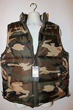 NWT green camouflage L to 3XL vest padded bubble jacket new woodland