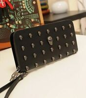 Lady's Skull Knuckle PU leather Clutch Punk Evening zipper Party bag wallet _169