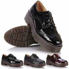 Ladies Flat Casual Lace Up Chunky Platform Oxford Brogue School Creepers Shoes