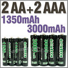 2 AA+2 AAA 1350mAh 3000mAh 1.2V NI-MH rechargeable battery 2A 3A GO!Green