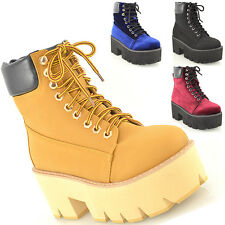 LADIES LACE UP CHUNKY CLEATED SOLE PLATFORM GOTH PUNK WOMENS ANKLE BOOTS SHOES