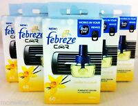 6 x Febreze Car Air Freshener VANILLA BOUQUET refill refills work in AMBI PUR