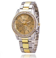 NEW Geneva Women Girl Crystal 3 Small Dials Style Steel Metal Quartz Wrist Watch