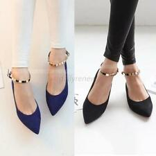New Women's  OL Pointy Toe Shoes Buckle Ankle Strap Ballet Flats Ballerina Shoes