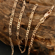 "18K Yellow Gold Plated Italy Figaro Link Chain 2mm Necklace Men's Collar 18""-22"""
