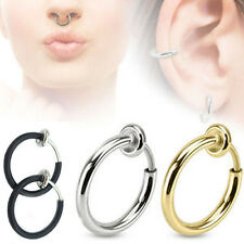 Hot 3 Colors Fake Spring Action Non Piercing Nose Septum/Ear Cartilage Ring JUST