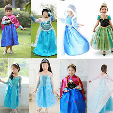 Fancy Costume Ice Queen Princess Party Halloween Cosplay Girls Dresses + Tiara
