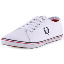 Fred Perry Kingston B6259 Mens Canvas White Trainers New Shoes All Sizes