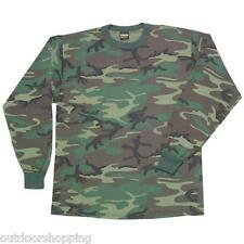 Woodland Camouflage Color KIDS LONG SLEEVE T-SHIRT- Tee, USA Made, Childrens
