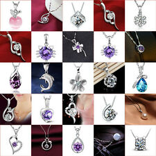 Women 925 Sterling Silver Rhinestone Crystal Chain Pendant Necklace Classic New