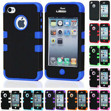 Silicone Hard Hybrid Back Case Cover For Apple iPhone 4S 5S Rubber Protect Skin