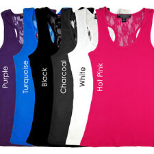 Racerback  2x1 Ribbed Wholesale Racer Back Lace Tank Tops in 6 Colors Sizes S-2X