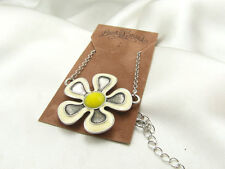 LUCKY BRAND Antique Silver Tone Flower Pendant Bohemian Necklace, NWT