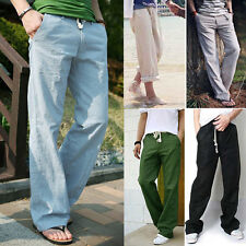 Mens Casual Pants Slacks Linen Wide Leg Sweat Pants Loose Summer Beach Trousers
