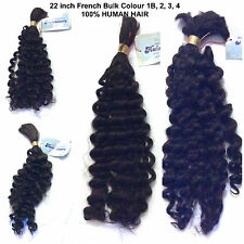 100% HUMAN HAIR BULK (curly) - 22 inches- Made by HAIRAISERS