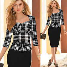 Womens Elegant Office OL Business Wear To Work Party Bodycon Pencil Career Dress
