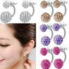 Fashion Women Fashion Jewelry 925 Silver Plated Double Beads Crystal Earring