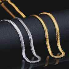 Men's 18K Real Gold Plated Stainless Steel Snake Chain Necklace Jewellery