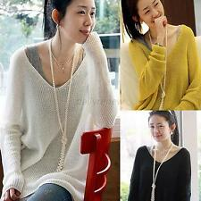 Women's Knitted Batwing Lady Casual Loose V-Neck Oversized Pullover Sweater Tops