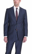 Tommy Hilfiger Classic Fit Blue With Red Windowpane Two Button Wool Suit