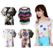 NEW Women Casual Short Sleeve Blouse Fashion Printed Tops Chiffon Charm T-shirt