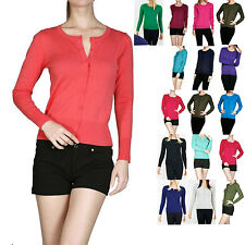 Solid Women's Crew Neck Long Sleeve Knit Sweater Cardigan Blouse Top Size S M L