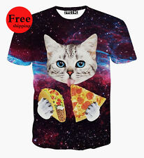 Little Cat eating Pizza Galaxy Space 3D Funny Women Men T-shirt Hiphop Top Tee t