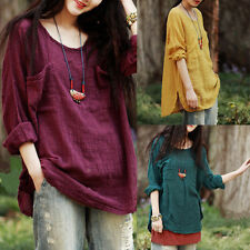 Fashion Ladies Loose Casual Solid Tops 3/4 Sleeve Cotton Linen Blouse Shirt Tee