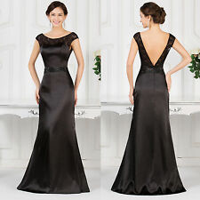 V-Back Satin Masquerade Formal Evening Bridesmaids Party Long Prom Dresses BLACK