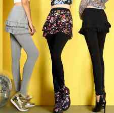 Women Skinny Leggings Stretchy Pants Pencil Jeggings Skirt Layered Faux Twinset