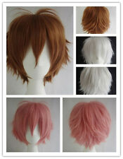 Women Girls Short Curly Wavy Heat Resistant Hair Cosplay Wigs 30cm Multicolor