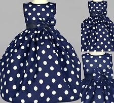 Navy Blue Polka Dot Dress Cotton Flower Girl Birthday Recital Summer Party #0022