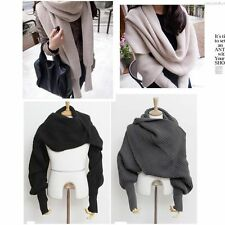 New Women Winter Warm Knitting Wool Scarf with Long Sleeve Soft Wrap Scarves