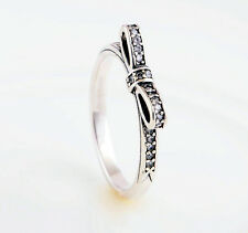 CRYSTAL BOW RING  .925 Sterling Silver  - Choose Your Size