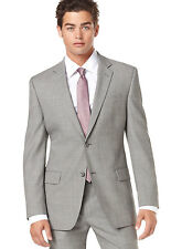 Alfani RED Slim Fit Gray Stepweave Two Button Wool Suit