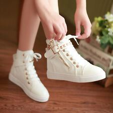 2015 Hot Women Casual Sneakers Rivets Lace Up Buckle Zipper Walking Canvas Shoes