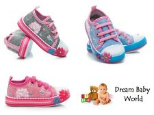 Girls canvas shoes trainers baby toddler size 3 - 7 UK - in 3 colours NEW!!