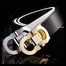 New High Quality Men Waist Belts Luxury Business Cowskin Leather Smooth Buckle